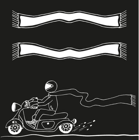 dude: Dude on Motorcycle. Man in helmet riding vintage looking moped