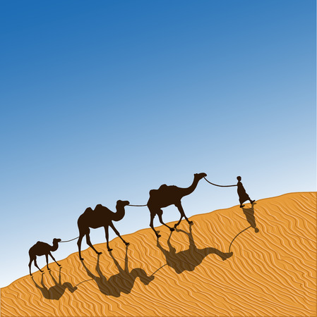 morning walk: Caravan with camels in desert with dunes on background. Vector illustration