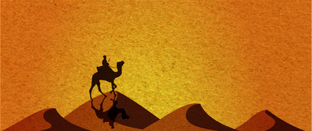 yellow adventure: Caravan with camels in desert with dunes on background. Vector illustration