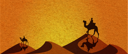dunes: Caravan with camels in desert with dunes on background. Vector illustration