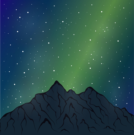 northern light: Vector illustration of a mountain range. Alpine glacier
