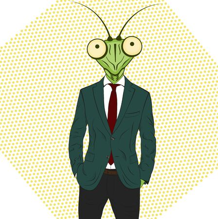 mantis: Praying mantis. Funny vector illustration. Cartoon character Mantis