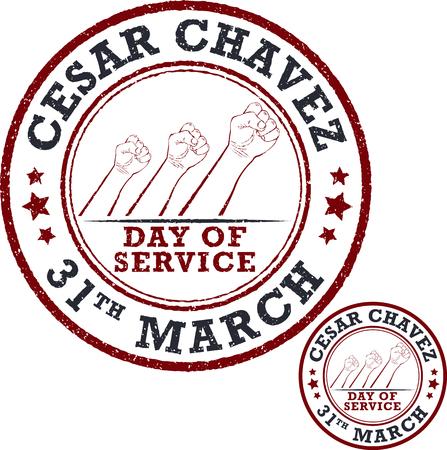 publicist: Stamp set. Cesar Chavez, day of service. Vector illustration