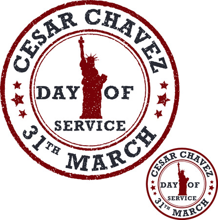 workers rights: Stamp set. Cesar Chavez, day of service. Vector illustration