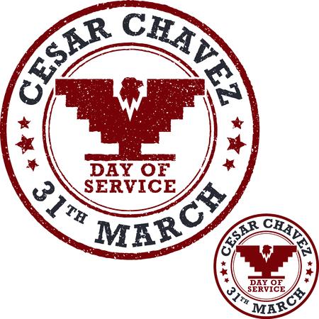Stamp set. Cesar Chavez, day of service. Vector illustration