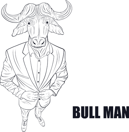 yak: Praying bull. Funny vector illustration. Cartoon character bull Illustration