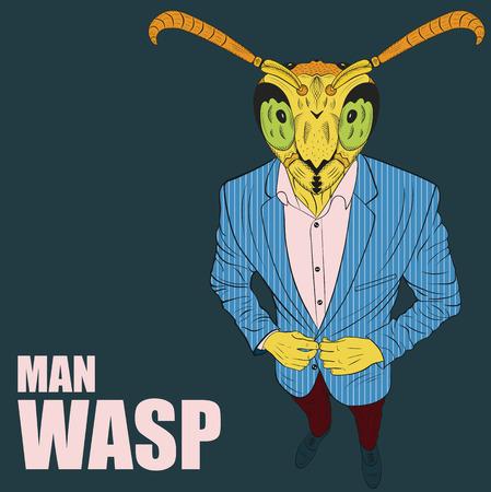 Praying wasp. Funny vector illustration. Cartoon character wasp