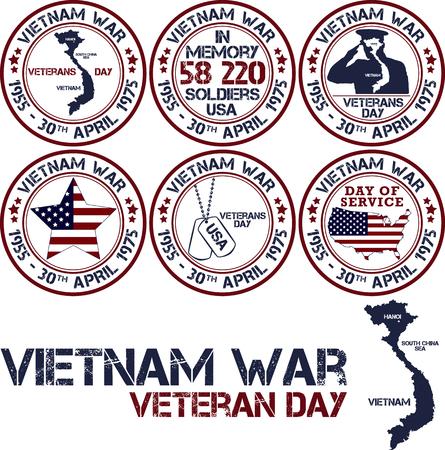 deliverance: Vietnam war. Remembrance day. Vector illustration Patriotic stamps Illustration
