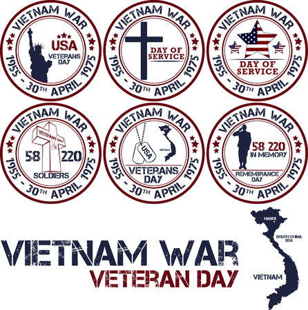 vietnam war: Vietnam war. Remembrance day. Vector illustration Patriotic stamps Illustration
