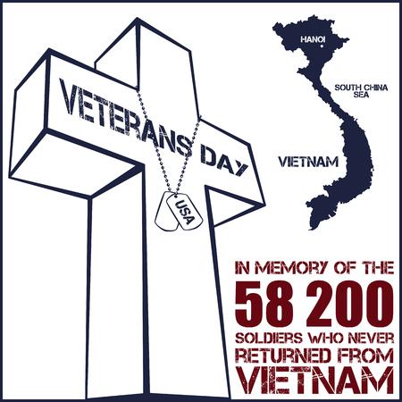 d�livrance: La guerre du Vietnam. Jour du Souvenir. Vector illustration de la carte patriotique