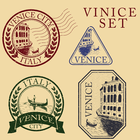 historical romance: Streets in Venice with gondola, vintage engraved illustration, hand drawn. Stamp set
