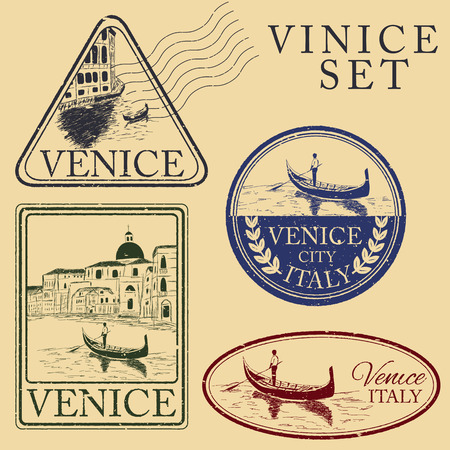 venice gondola: Streets in Venice with gondola, vintage engraved illustration, hand drawn. Stamp set