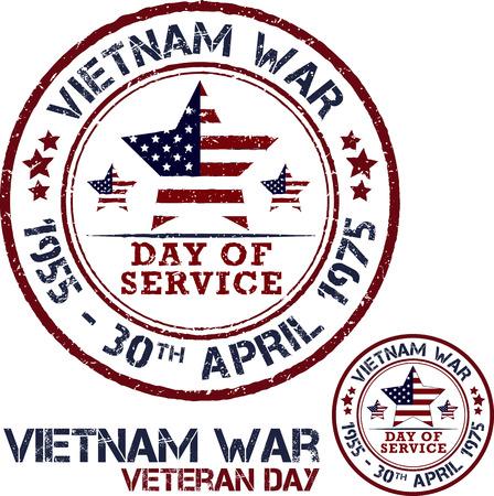 d�livrance: La guerre du Vietnam. Jour du Souvenir. timbres Pattic Vector illustration Illustration