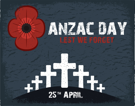 remembrance day poppy: Anzac day.  Day card in vector format.