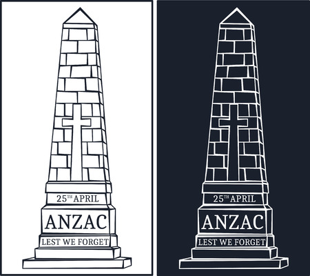 obelisk: Anzac day.  Day card in vector format.