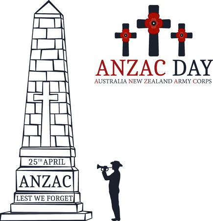 returned: Anzac day.  Day card in vector format.