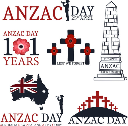 returned: Anzac day.  Day set in vector format. Illustration