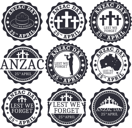 commemoration day: Anzac day. Stamp set.  Day set in vector format.