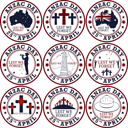 returned: Anzac day. Stamp set.  Day set in vector format.