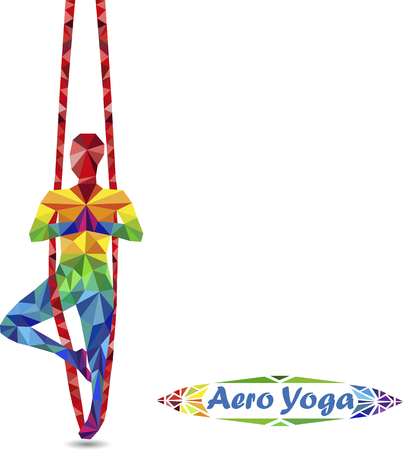 aero: Aerial Yoga. Anti-gravity Yoga. Aero Yoga. Image of triangles