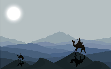 animal silhouette: Caravan with camels in desert with dunes on background. Vector illustration