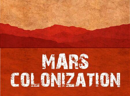 colonization: Mars colonization. The landscape of the planet Mars. Colour poster, illustration
