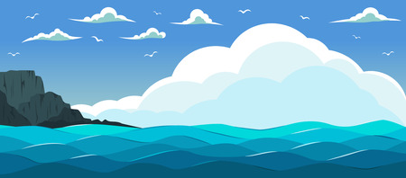 Blue sea with waves. Colour poster, illustration