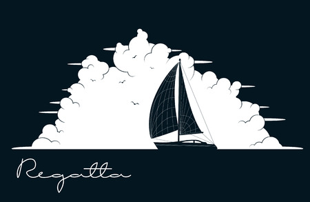 regatta: Yacht regatta. Sea and Ocean Travel Element. Sport and Holiday Template.