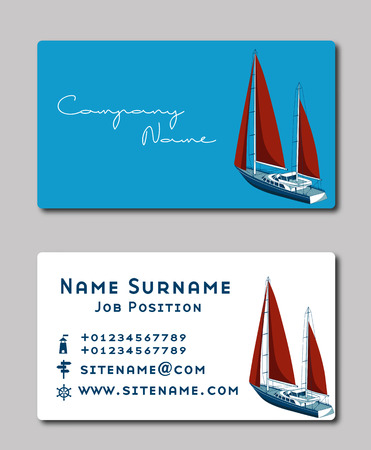 sailing yacht business card template royalty free cliparts