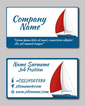 sailing yacht: Sailing yacht. Business card template Illustration. Stationery Design Illustration