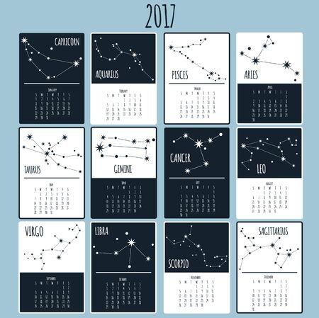 Calendar 2017. Week starts from Sunday. flat design template