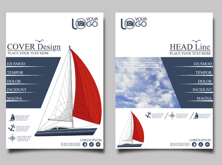 Yacht club. Flyer design template vector. Leaflet cover presentation background.