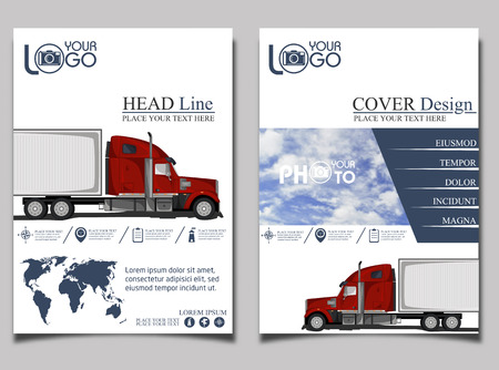 trucking: Trucking. Flyer with red truck. Flyer design template vector. Leaflet cover presentation background. Illustration