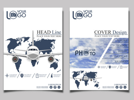 passenger plane: Flyer template airlift. Commercial flights in airplanes. Tourist and business flights. Passenger plane. Empty space for text. Flyer design. Vector illustration