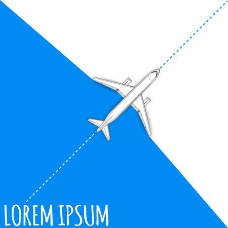 empty space for text: Commercial flights in airplanes. Tourist and business flights. Passenger plane. Empty space for text. Flyer design. Vector illustration. Blue background