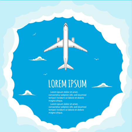 passenger plane: Commercial flights in airplanes. Tourist and business flights. Passenger plane. Empty space for text. Flyer design. Vector illustration. Blue background
