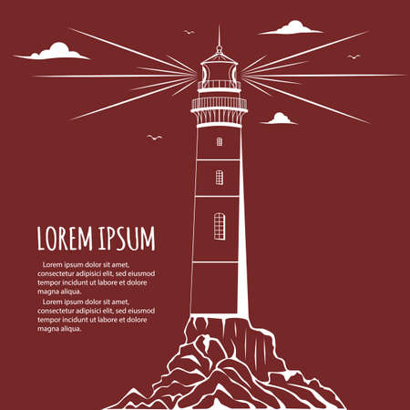 lighthouse beam: Poster with Lighthouse. Lighthouse . Lighthouse with light beam, clouds, birds. Lighthouse postcard