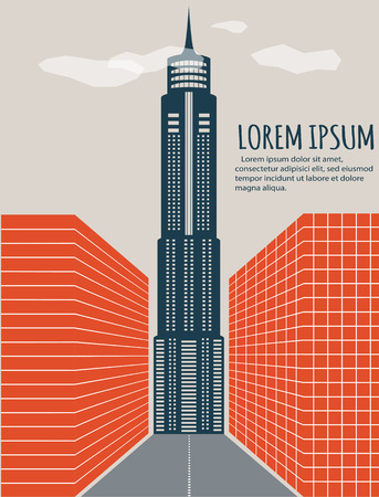 architecture detail: Minimalistic cityscape banner. Abstract minimal style architecture background. Modern building facade detail. City landscape concept illustration. Retro colors stylization
