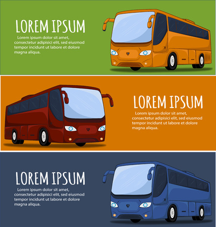 omnibus: Tourist bus banner. City Bus. Bus icon. Big tour bus illustration. Illustration