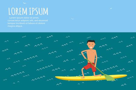 male surfer: Male surfer riding on waves in the sea. Surfing character. Illustration