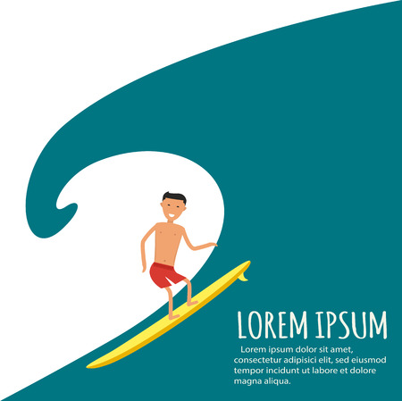 Male surfer riding on waves in the sea. A surfer catches a huge wave. Surfing character. Cute surfer. Иллюстрация