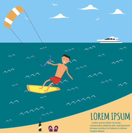 kite surfing: Male kite surfer riding on waves in the sea. A surfer catches a huge wave. Surfing character. Cute surfer. Illustration