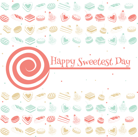 sparkled: Happy sweetest day greetings card, vector illustration.