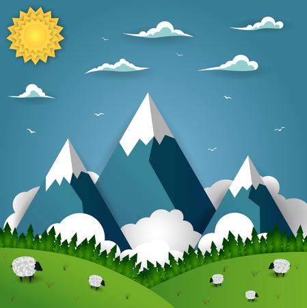 Berglandschap met schapen op het veld