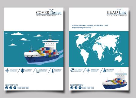 Sea shipping banner template set Stock Vector - 80989132