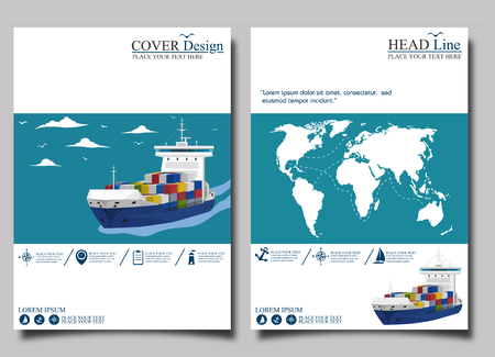 Sea shipping banner template set Illustration
