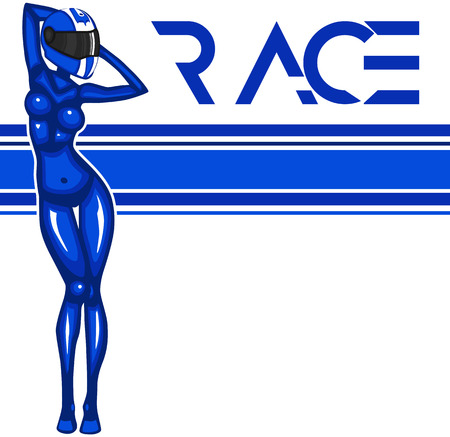Rally race banner with girl