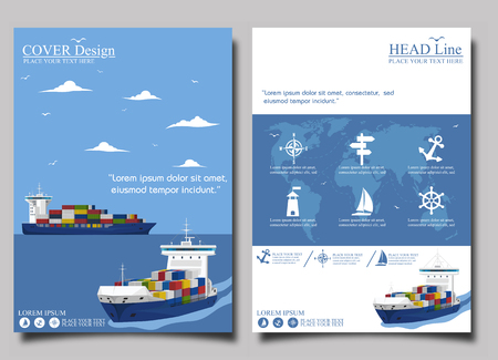 Sea shipping poster template set. Maritime container transportation, commercial transportation logistics. Worldwide freight shipping business company, global delivery service vector illustration Illustration