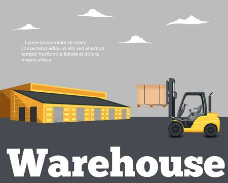 Warehouse banner with forklift truck