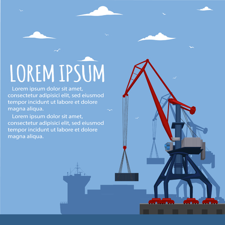 Commercial seaport banner with port crane Illustration